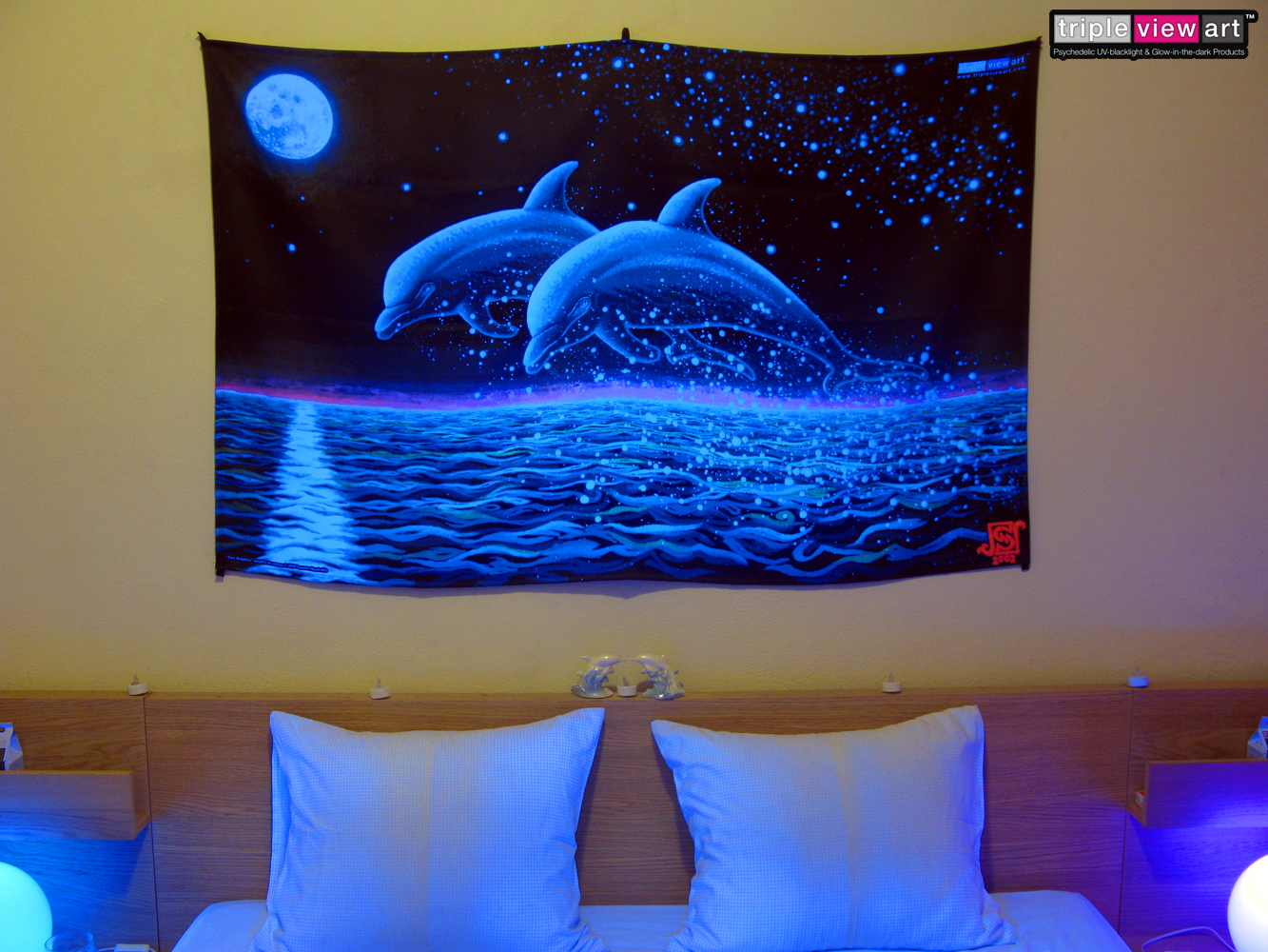Two Dolphins UV Blacklight Fluorescent Glow Backdrop Banner Wall Hanging Tapestry Deco Tripleview Art Shop