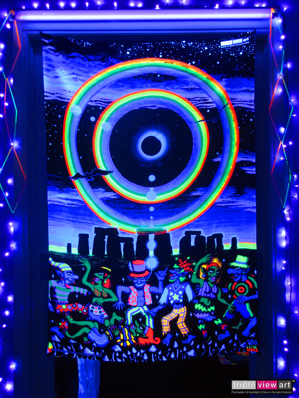 Quot Eclipse Over Stonehenge Quot Uv Blacklight Fluorescent Glow