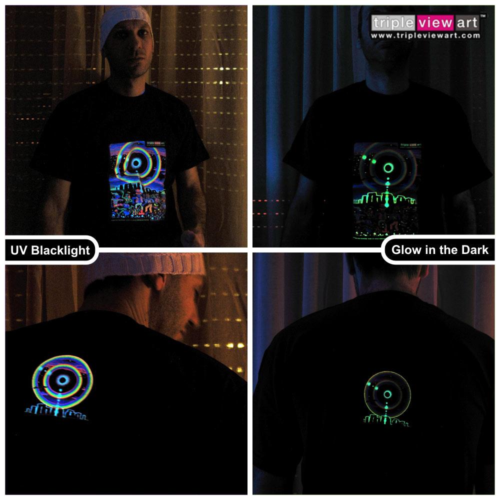 Design t shirt glow in the dark -  Eclipse Over Stonehenge Men S Uv Blacklight Glow In The