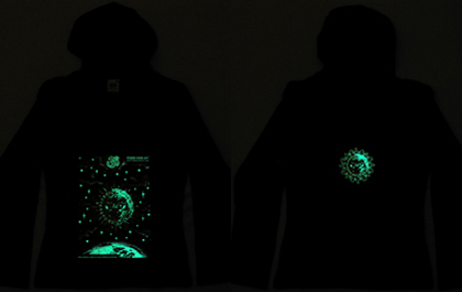 blacklight hoodie glowing in the dark