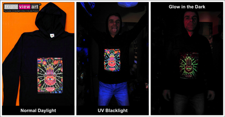 Men's Hoodies, Psychedelic, UV, Blacklight, Fluorescent, Glow-in-the-dark, Psyware, Trancewear, Psytrance Wear, Clubwear