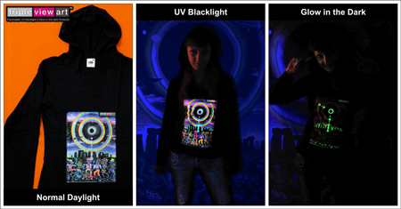 Women's Hoodies, Psychedelic, UV, Blacklight, Fluorescent, Glow-in-the-dark, Psyware, Trancewear, Psytrance Wear, Clubwear