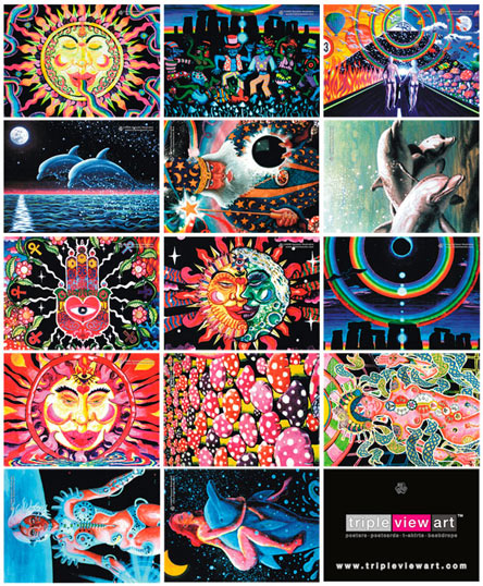 14 postcards value pack: uv (ultraviolet) blacklight fluorescent and glow-in-the-dark phosphorescent afterglow poster/postcard prints, made from the original psychedelic spiritual visionary fantasy fine art backdrop, mural and portrait paintings by symeon nostrakis of 333artworks/tripleviewart