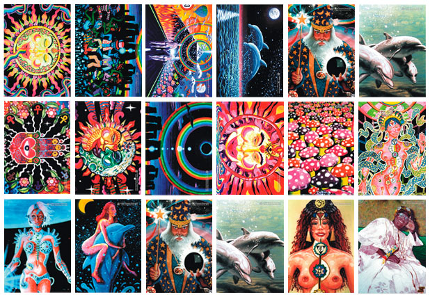 12 postcards value pack: uv (ultraviolet) blacklight fluorescent and glow-in-the-dark phosphorescent afterglow poster/postcard prints, made from the original psychedelic spiritual visionary fantasy fine art backdrop, mural and portrait paintings by symeon nostrakis of 333artworks/tripleviewart