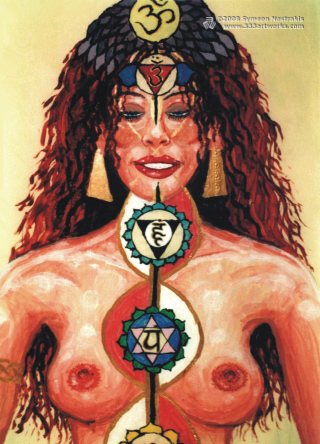Chakra Girl #2 is a poster/postcard print, made from the original psychedelic spiritual visionary fantasy fine art mural painting by symeon nostrakis of 333artworks/tripleviewart, and depicting a female on meditation, with open heart and above chakras and rising kundalini energy (hindu theme)
