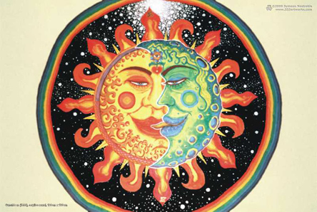 Sun+Moon is a poster/postcard print, made from the original psychedelic spiritual visionary fantasy fine art mural painting by symeon nostrakis of 333artworks/tripleviewart, and depicting mystery, magic alchemy, the sun and the moon coming together in an eclipse (sunmoon as the union of the opposites), the third eye/3rd eye inside a flower growing from a heart, and everything surrounded by space with stars and a circular rainbow