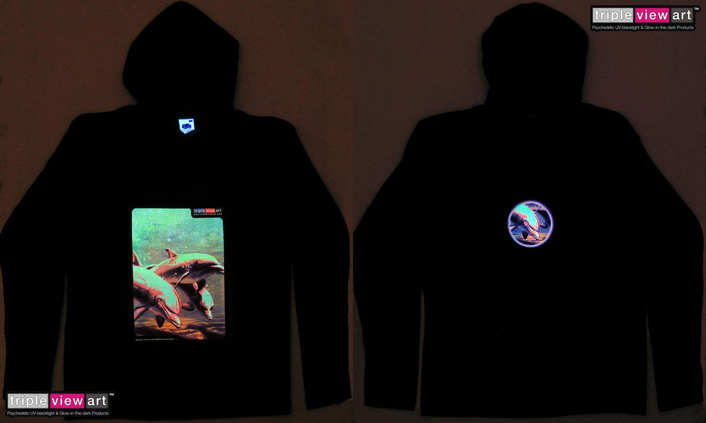 Dolphins is a uv (ultraviolet) blacklight fluorescent and glow-in-the-dark phosphorescent afterglow short sleeve t-shirt and long sleeve hooded shirt print, made from the original psychedelic spiritual visionary fantasy fine art mural painting by symeon nostrakis of 333artworks/tripleviewart, and depicting a photorealistic (photorealism) underwater scene: dolphins swiming in the sea water, and a spiral of bubbles in the seascape
