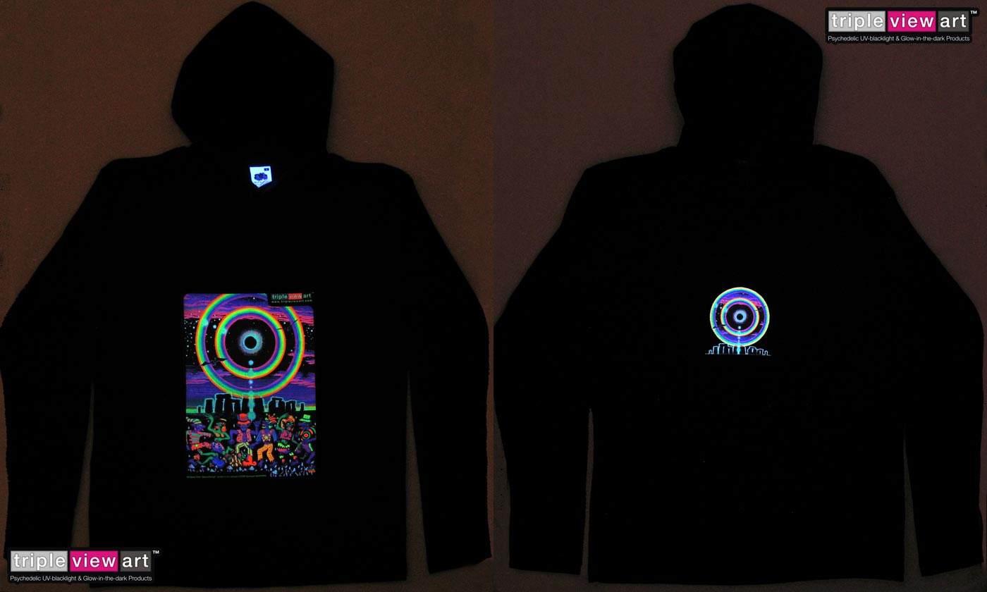 Eclipse Over Stonehenge is a uv (ultraviolet) blacklight fluorescent and glow-in-the-dark phosphorescent afterglow short sleeve t-shirt and long sleeve hooded shirt print, made from the original psychedelic spiritual visionary fantasy fine art backdrop painting by symeon nostrakis of 333artworks/tripleviewart, and depicting a mystery tribal party of pixies/elf/elves/goblins dance on magic psylocybin mushrooms growing form the earth in stonehenge landscape, and a double circular rainbow and stars around a total eclipse
