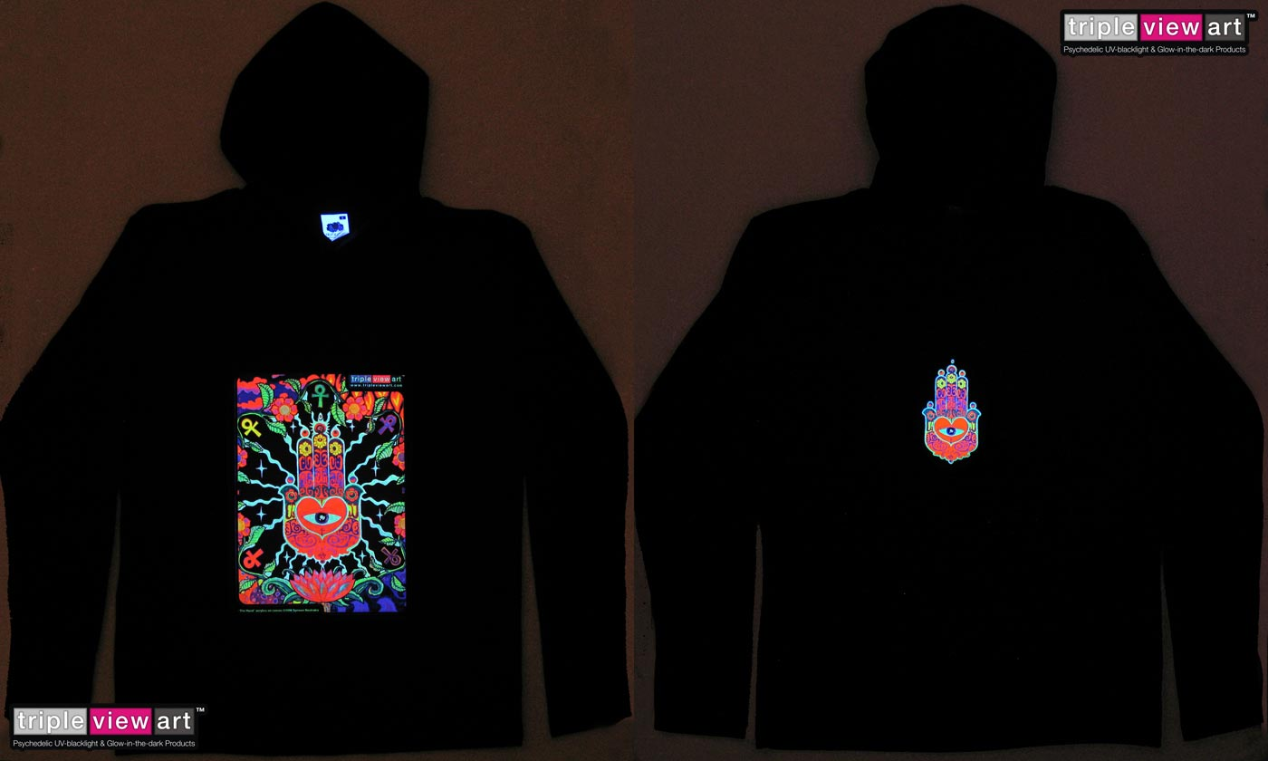 The Hand is a uv (ultraviolet) blacklight fluorescent and glow-in-the-dark phosphorescent afterglow short sleeve t-shirt and long sleeve hooded shirt print, made from the original psychedelic spiritual visionary fantasy fine art backdrop painting by symeon nostrakis of 333artworks/tripleviewart, and depicting the lucky hand of fatima (hamsa/khamsa) with a heart and an eye, a magic amulet encircled by flowers, amanita (fly agaric) mushrooms, and the elements of earth, water, air, and fire
