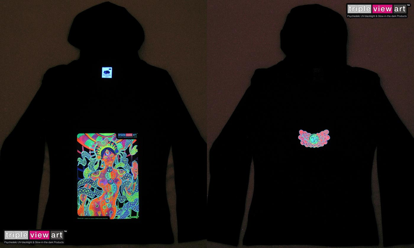 Chakra Girl is a uv (ultraviolet) blacklight fluorescent and glow-in-the-dark phosphorescent afterglow short sleeve t-shirt and long sleeve hooded shirt print, made from the original psychedelic spiritual visionary fantasy fine art backdrop painting by symeon nostrakis of 333artworks/tripleviewart, and depicting a partly scifi/sci-fi/science fiction theme: a cyborg transhuman biomechanoid bionic female from space, with open chakras and rising kundalini energy (hindu theme) surrounded by celtic knotwork decoration