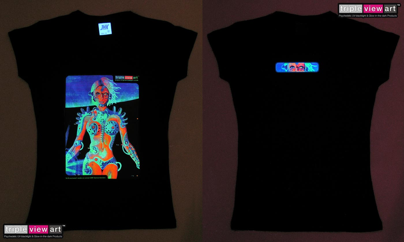 B.I.O.mechanoid is a uv (ultraviolet) blacklight fluorescent and glow-in-the-dark phosphorescent afterglow short sleeve t-shirt and long sleeve hooded shirt print, made from the original psychedelic spiritual visionary fantasy fine art backdrop painting by symeon nostrakis of 333artworks/tripleviewart, and depicting a mystery scifi/sci-fi/science fiction theme: a cyborg transhuman biomechanoid bionic female from space