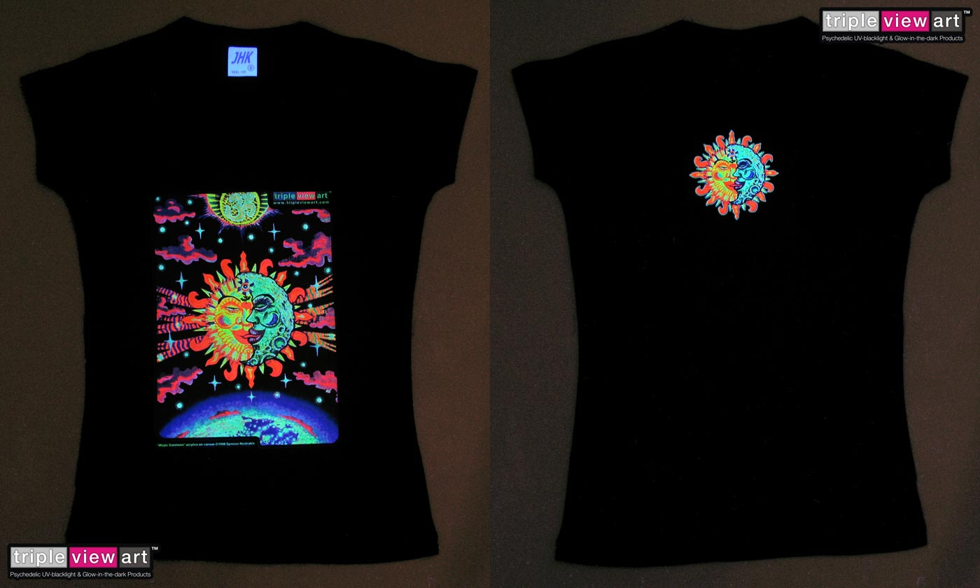 Magic Sunmoon is a uv (ultraviolet) blacklight fluorescent and glow-in-the-dark phosphorescent afterglow short sleeve t-shirt and long sleeve hooded shirt print, made from the original psychedelic spiritual visionary fantasy fine art backdrop painting by symeon nostrakis of 333artworks/tripleviewart, and depicting a magic alchemy, the sun and the moon coming together in an eclipse (sunmoon as the union of the opposites), the third eye/3rd eye inside a flower growing from a heart, above is a radiating om/aum, below is the earth globe, and everything is surrounded by stars and colourful clouds