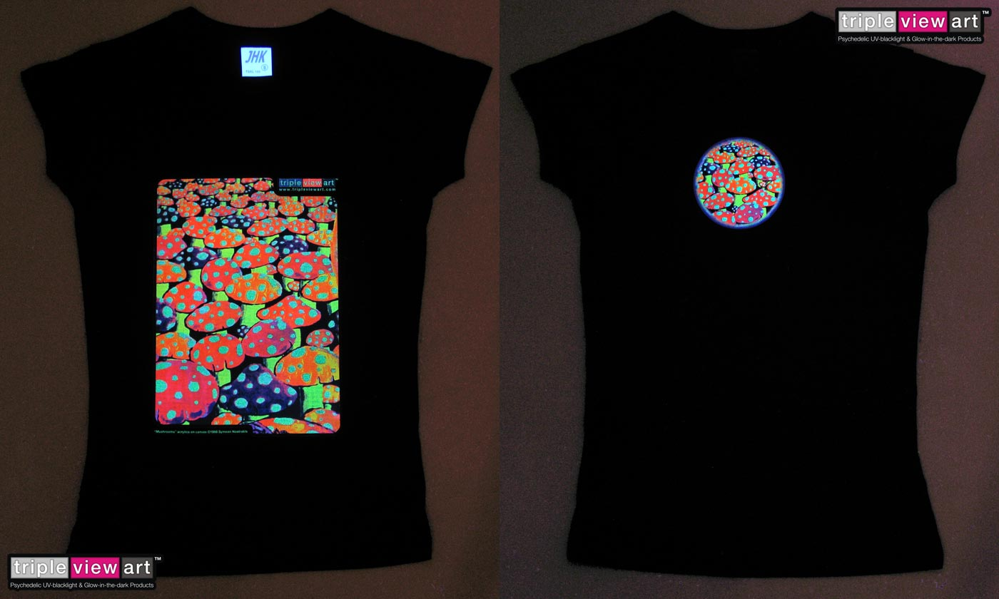 Mushrooms is a uv (ultraviolet) blacklight fluorescent and glow-in-the-dark phosphorescent afterglow short sleeve t-shirt and long sleeve hooded shirt print, made from the original psychedelic spiritual visionary fantasy fine art backdrop painting by symeon nostrakis of 333artworks/tripleviewart, and depicting a magic landsape of amanita (fly agaric) mushrooms forest, standing as a symbol of the earth
