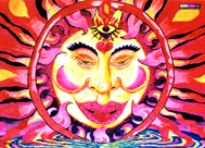 """Chillin' Sun"" psychedelic wall hanging, uv wall hanging, blacklight wall hanging"