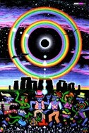 """Eclipse Over Stonehenge"" psychedelic wall hanging, uv wall hanging, blacklight wall hanging"