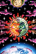 """Magic Sunmoon"" psychedelic wall hanging, uv wall hanging, blacklight wall hanging"