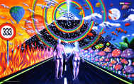 """New Horizons"" psychedelic wall hanging, uv wall hanging, blacklight wall hanging"