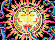 """Rainbow Sun"" psychedelic wall hanging, uv wall hanging, blacklight wall hanging"