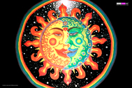 """Sun+Moon"" psychedelic wall hanging, uv wall hanging, blacklight wall hanging"