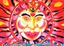 """Chillin' Sun"" psychedelic postcard, blacklight postcard, glow-in-the-dark postcard"