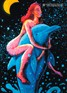 """Dolphin Girl"" psychedelic postcard, blacklight postcard, glow-in-the-dark postcard"