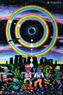"""Eclipse Over Stonehenge"" psychedelic poster, blacklight poster, glow-in-the-dark poster"