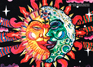 """Magic Sunmoon"" psychedelic postcard, blacklight postcard, glow-in-the-dark postcard"