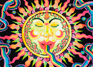 """Rainbow Sun"" psychedelic postcard, blacklight postcard, glow-in-the-dark postcard"