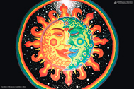 """Sun+Moon"" psychedelic poster, blacklight poster, glow-in-the-dark poster"