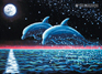 """Two Dolphins"" psychedelic postcard, blacklight postcard, glow-in-the-dark postcard"